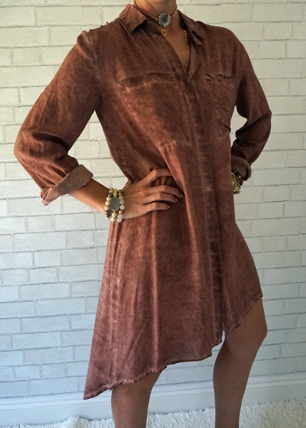 Washed Fabric Shirt Dress