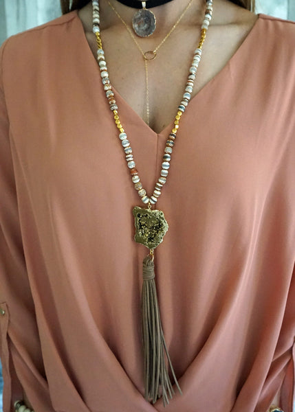Druzy and Tassel Necklace