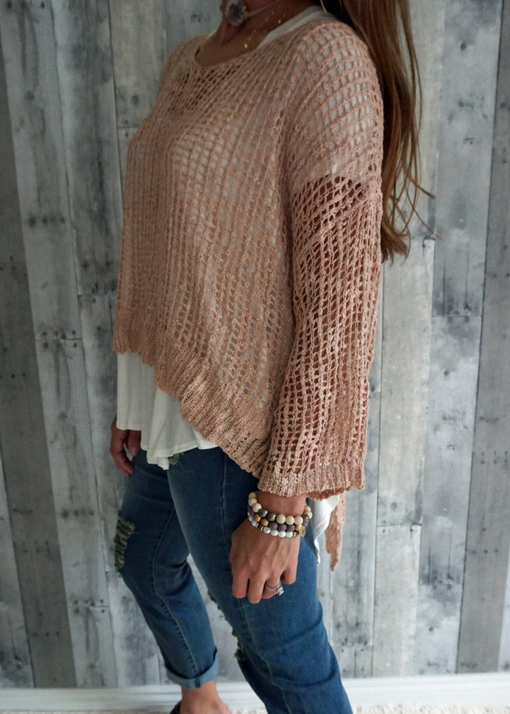 Crochet Mesh Knit Sweater