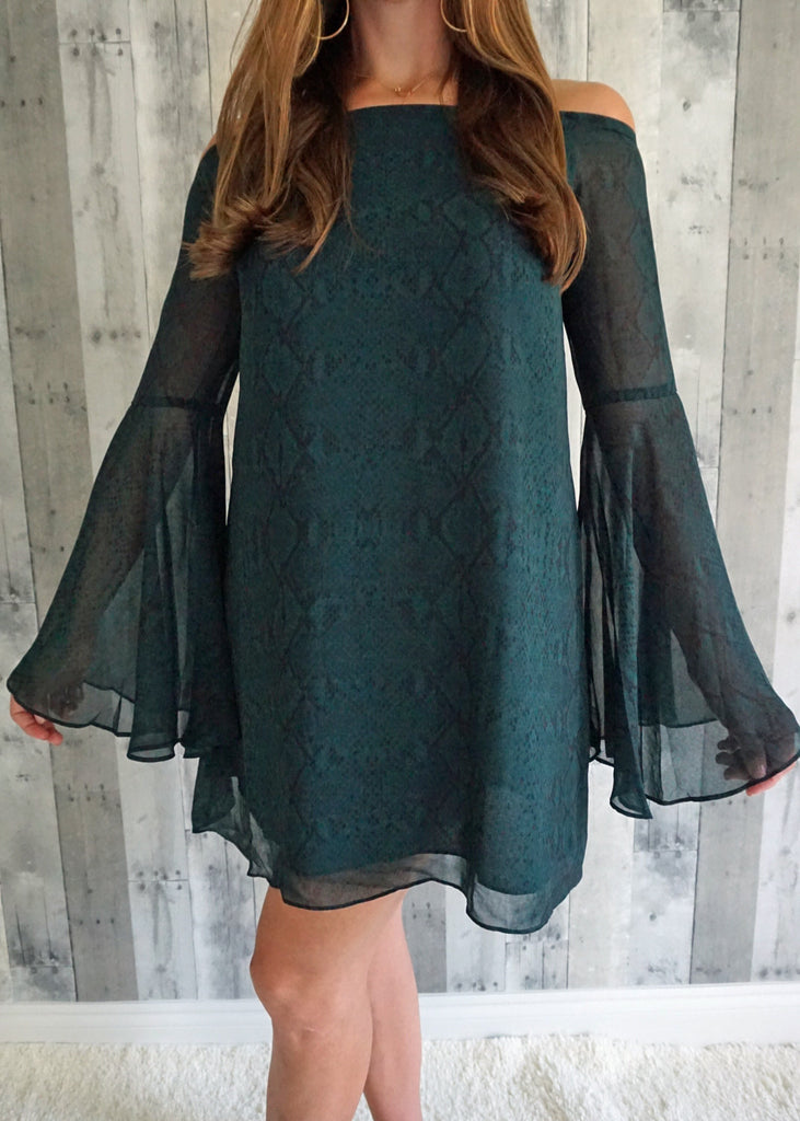 Olivaceous Black and Green Snake Bell Sleeve Dress