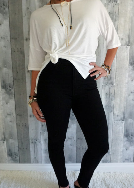 Just Black High Rise Crop Skinny