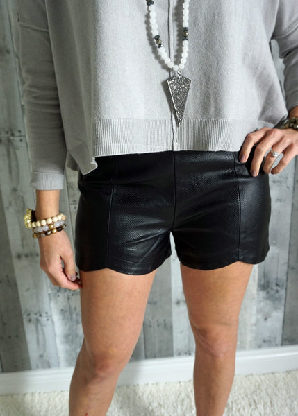 Leather Shorts with Scallop