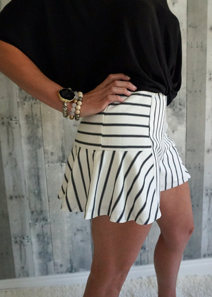 Lined Multi-Striped Culotte Shorts