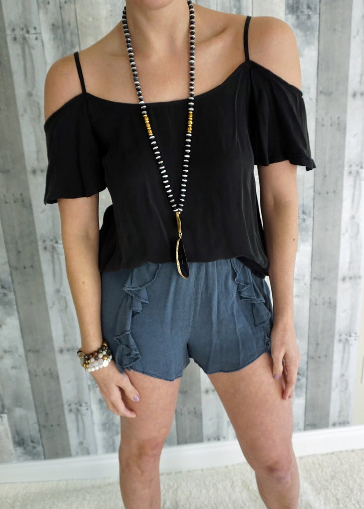 Ruffled Washed Shorts
