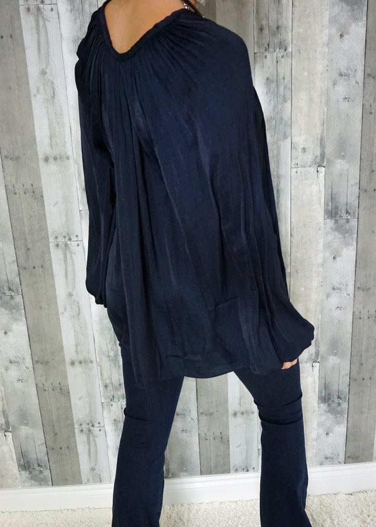 Silky Navy Blouse