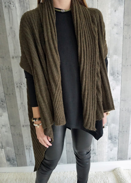 Draped Asymmetrical Hem Cardigan