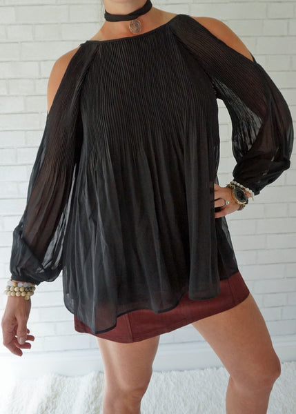 Puff Sleeve Pleated Sheer Chiffon Blouse