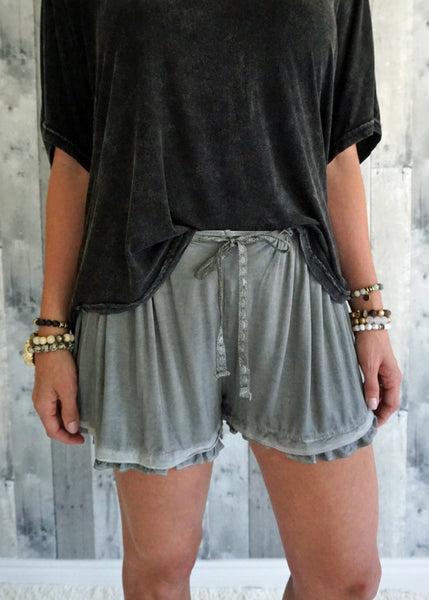 Ruffle Trim Boxy Shorts