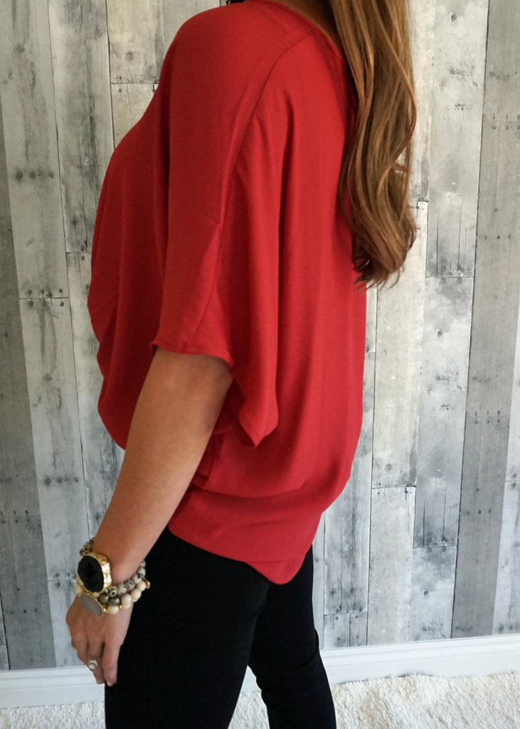 Woven Short Sleeve Twist Front Top