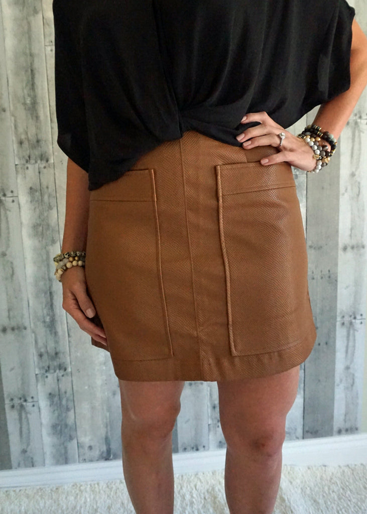 Leather Skirt with Pockets