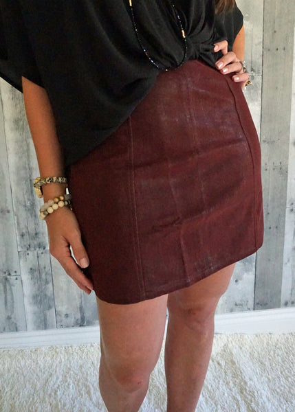 Very J Washed Leather Skirt