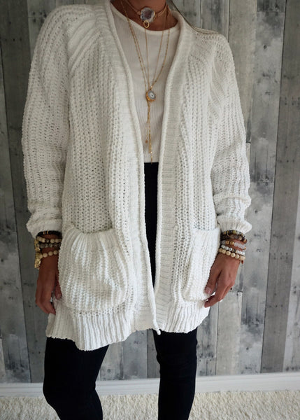 Chenille Thread Open Cardigan