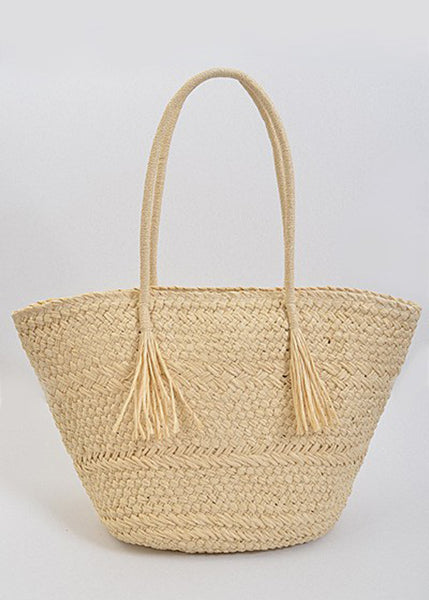 Straw Bag with Tassel Handle