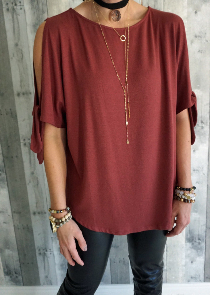 Knotted Sleeve Knit Tee