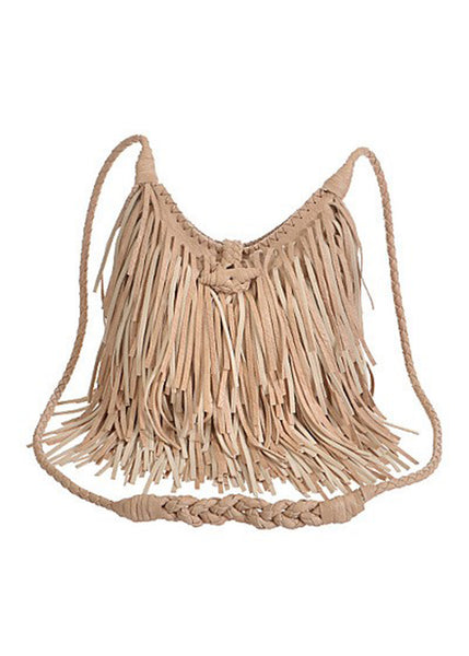 Fringe Handbag with Braided Strap