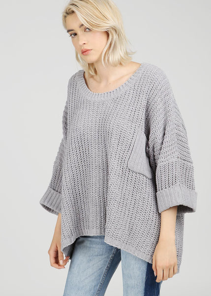 Grey Cold Shoulder Woven Top