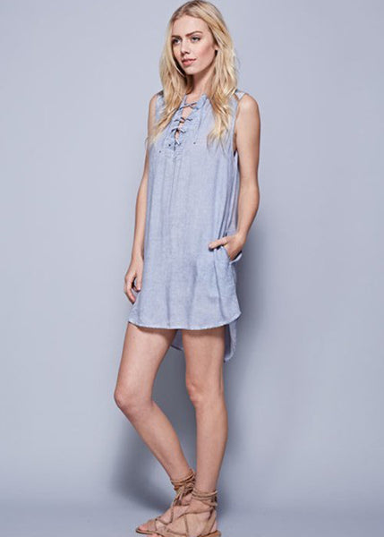 Washed Denim Lace Up Dress