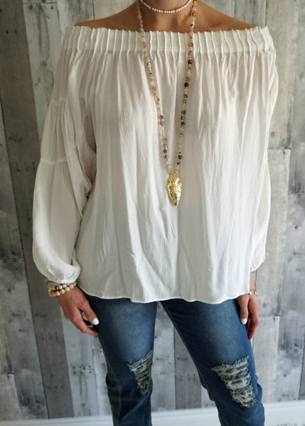 Off Shoulder Off White Blouse