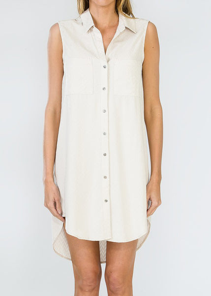 Olivaceous Jacquard Button Up Dress