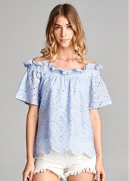 Ellison Embroidered Off Shoulder Top