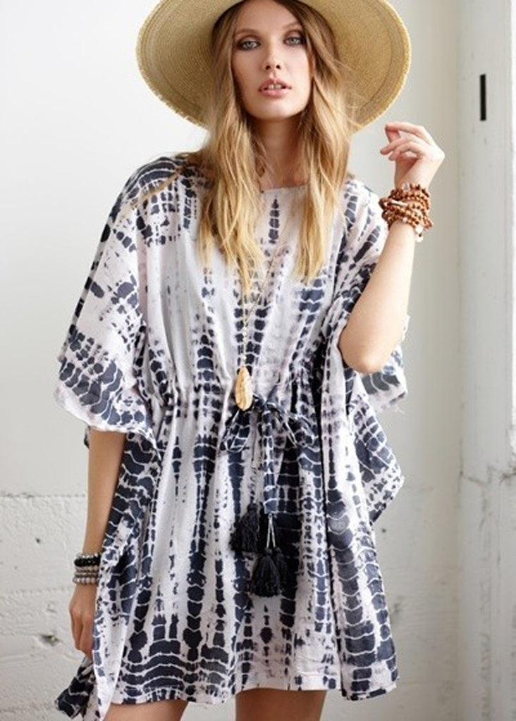 Indigo Tie Dye Oversized Cover Up