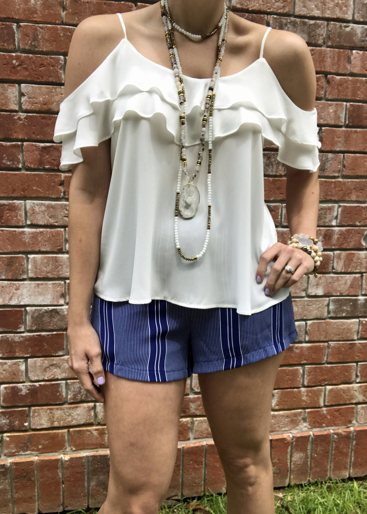 White Cold Shoulder Ruffle Top