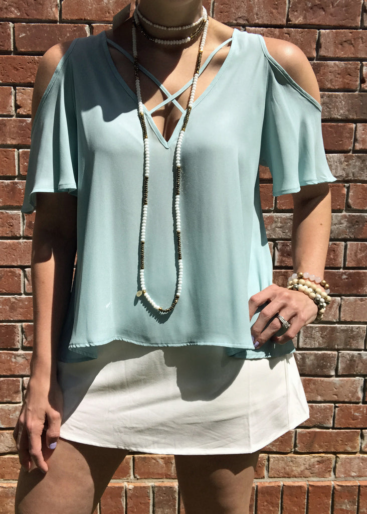 X Strap Cold Shoulder Top