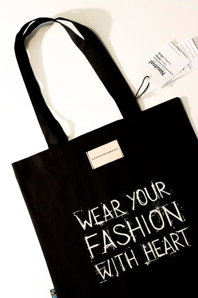 Organic cotton 'Fashion with Heart' tote bag