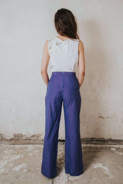 Henrica Langh - Purple wide organic cotton trousers