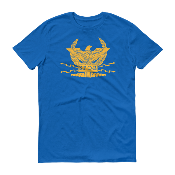 blue shirt with SPQR logo and motto on front