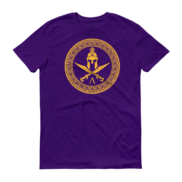 purple shirt with gold logo of a hoplite helmet and two swords crossed, encircled by greek patterns