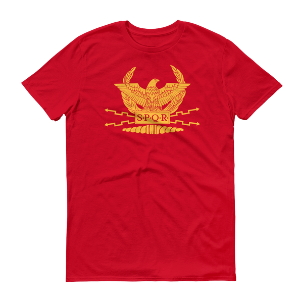 red shirt with SPQR logo and motto on front