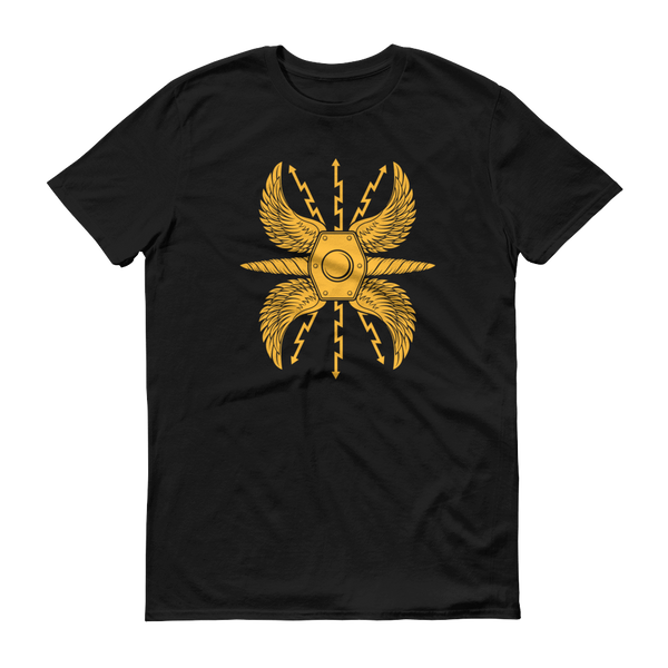 black shirt with yellow wing shield scutum design