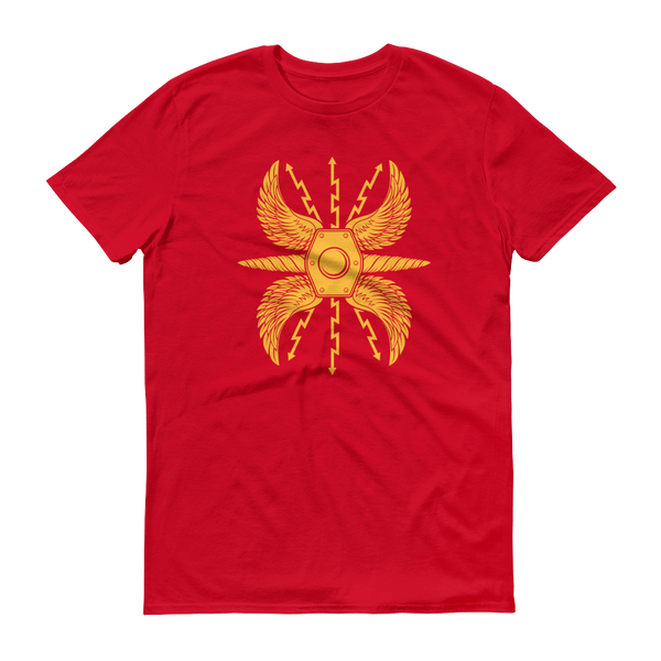 red shirt with yellow wing roman shield scutum design