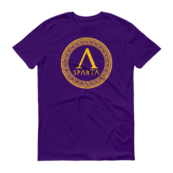 purple shirt with yellow design of a spartan hoplite shield with lambda emblazoned on front