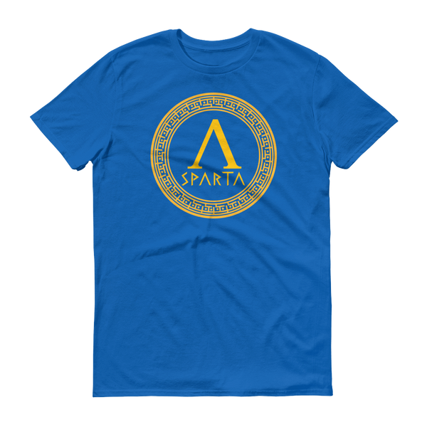 blue shirt with yellow design of a spartan hoplite shield with lambda emblazoned on front