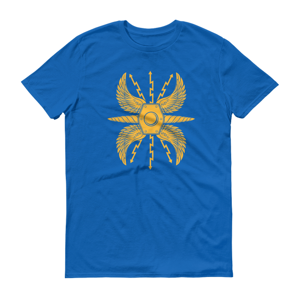 blue shirt with yellow wing roman shield scutum design