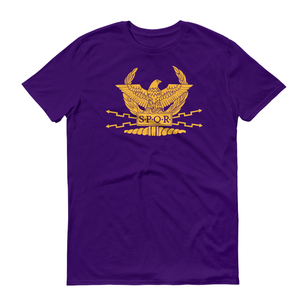 purple shirt with SPQR logo and motto on front
