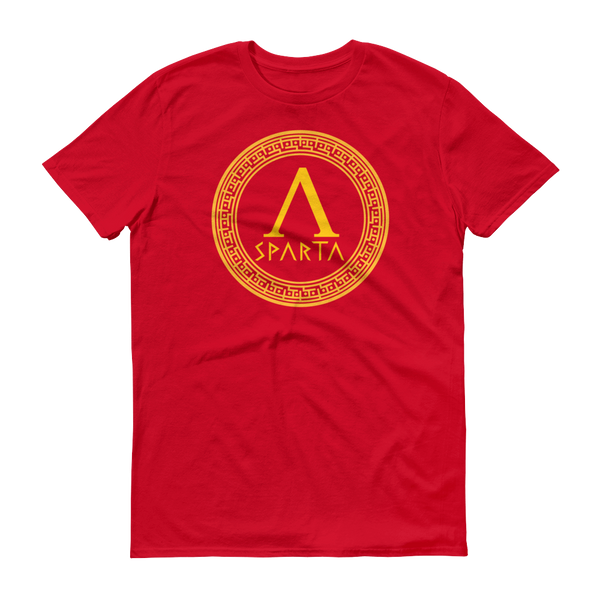 red shirt with yellow design of a spartan hoplite shield with lambda emblazoned on front