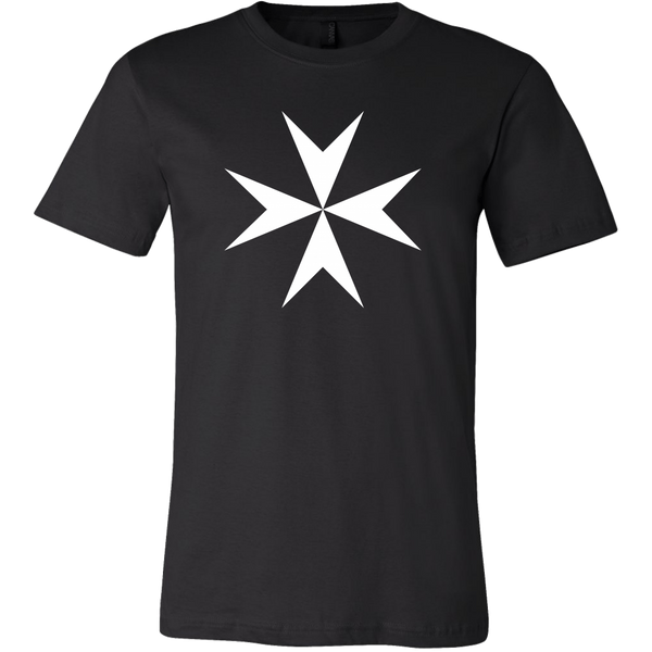 black fitted tee shirt with white maltese cross emblazoned on front