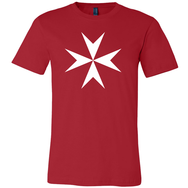 red fitted tee shirt with white maltese cross emblazoned on front