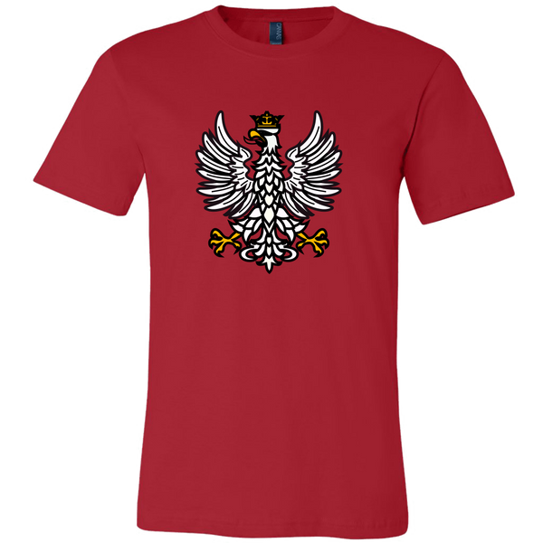 red shirt with white polish crowned eagle
