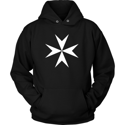 black hood sweatshirt with white knights hospitaller cross emblazoned on front.