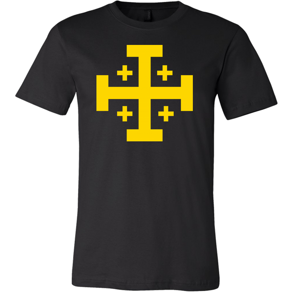black shirt with yellow kingdom of jerusalem coat of arms on front