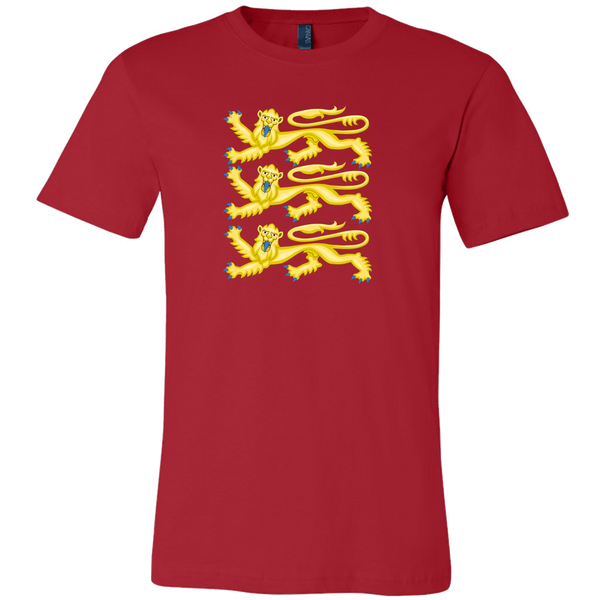 red fitted tee shirt with three gold lions, the crest of richard the lionheart