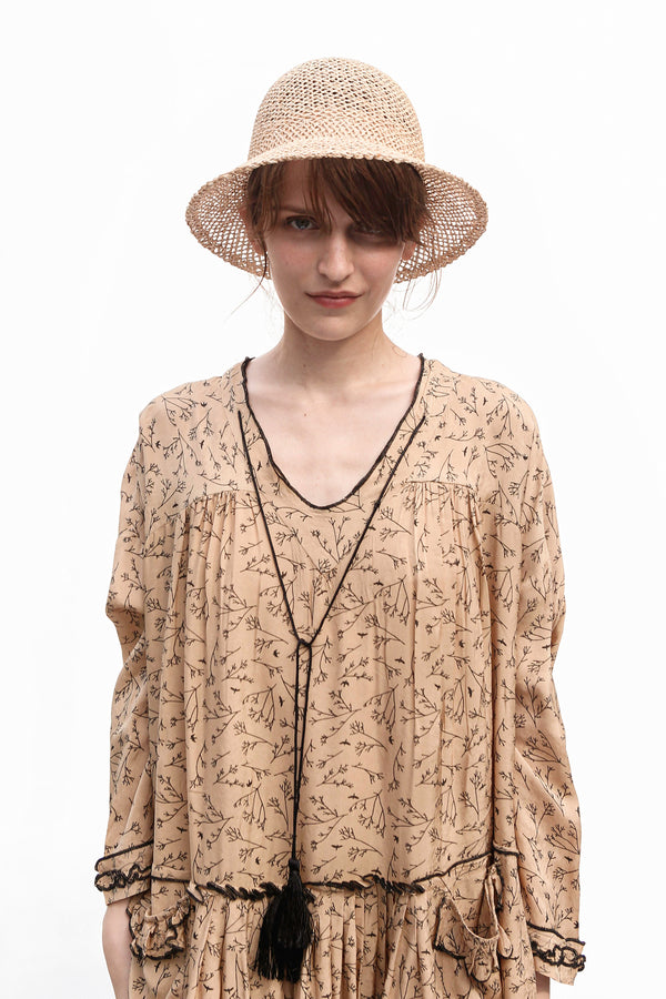 LAUREN Open Weave Straw Hat
