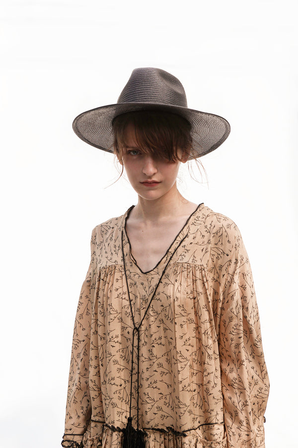LINDSEY Black Straw Panama Hat