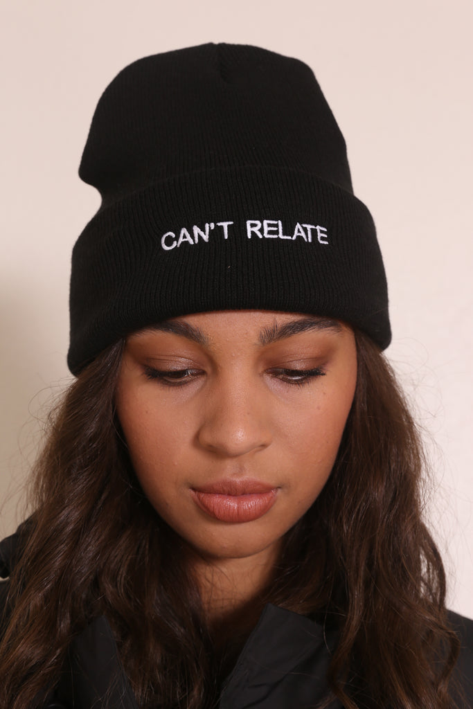 CAN'T RELATE BEANIE Black