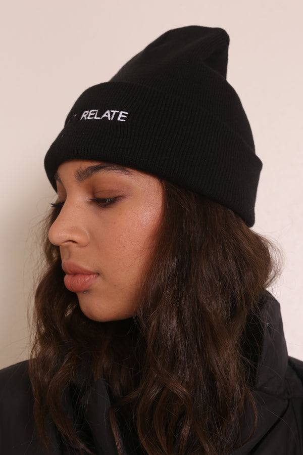 CAN'T RELATE Knit Beanie Black/White