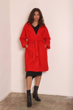 KARA Wool Trench Red